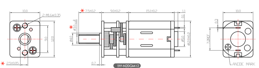 N20微型减速电机尺寸图